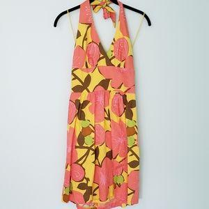 Trina Turk Halter Floral Yellow Sun Dress